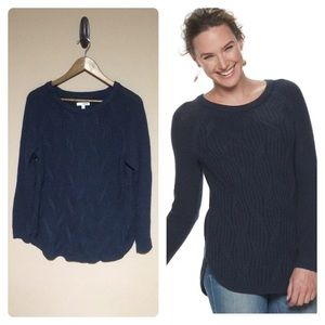 Sonoma twisted cable-knit navy sweater